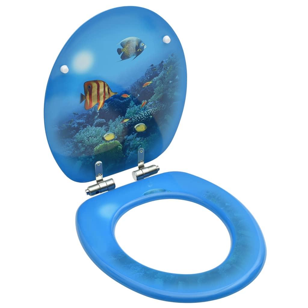vidaXL Capac WC cu închidere silențioasă, MDF, model subacvatic imagine vidaxl.ro