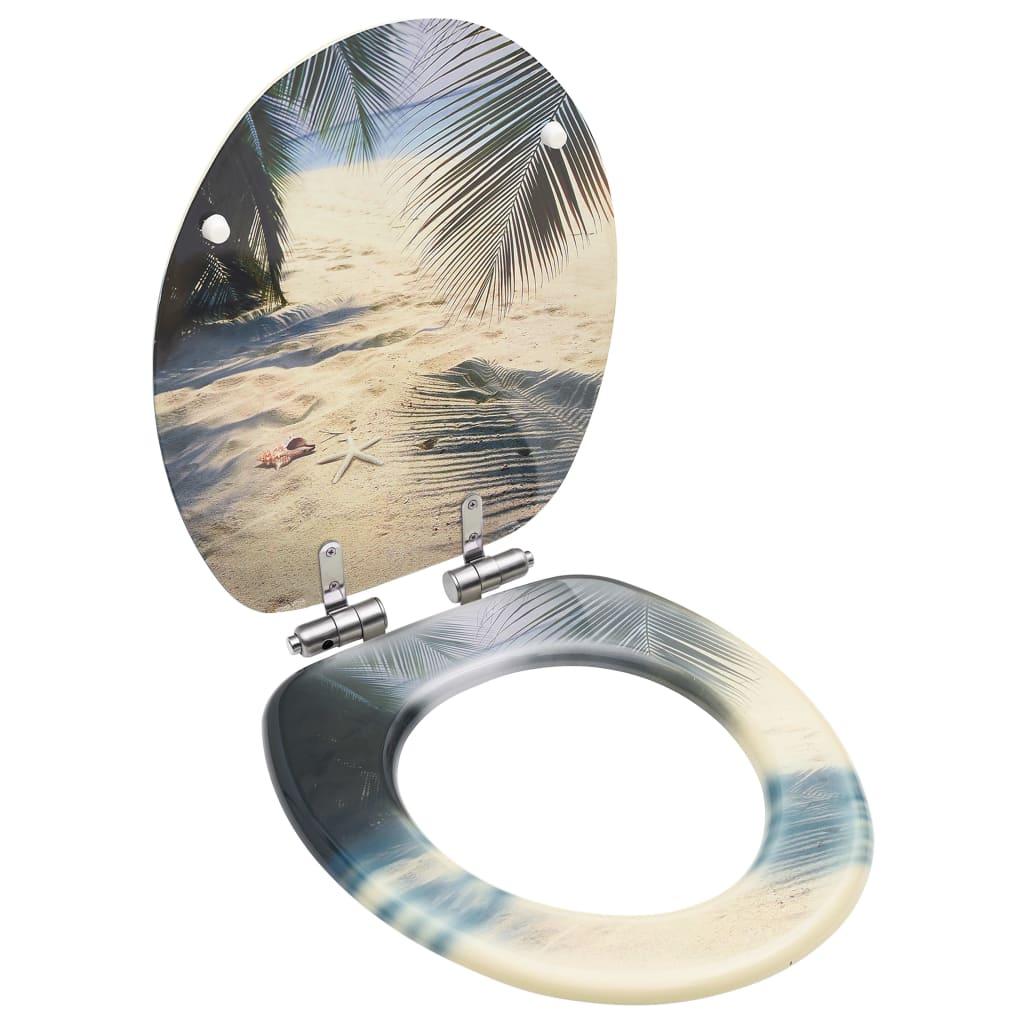vidaXL Capac WC cu închidere silențioasă, MDF, model plajă imagine vidaxl.ro