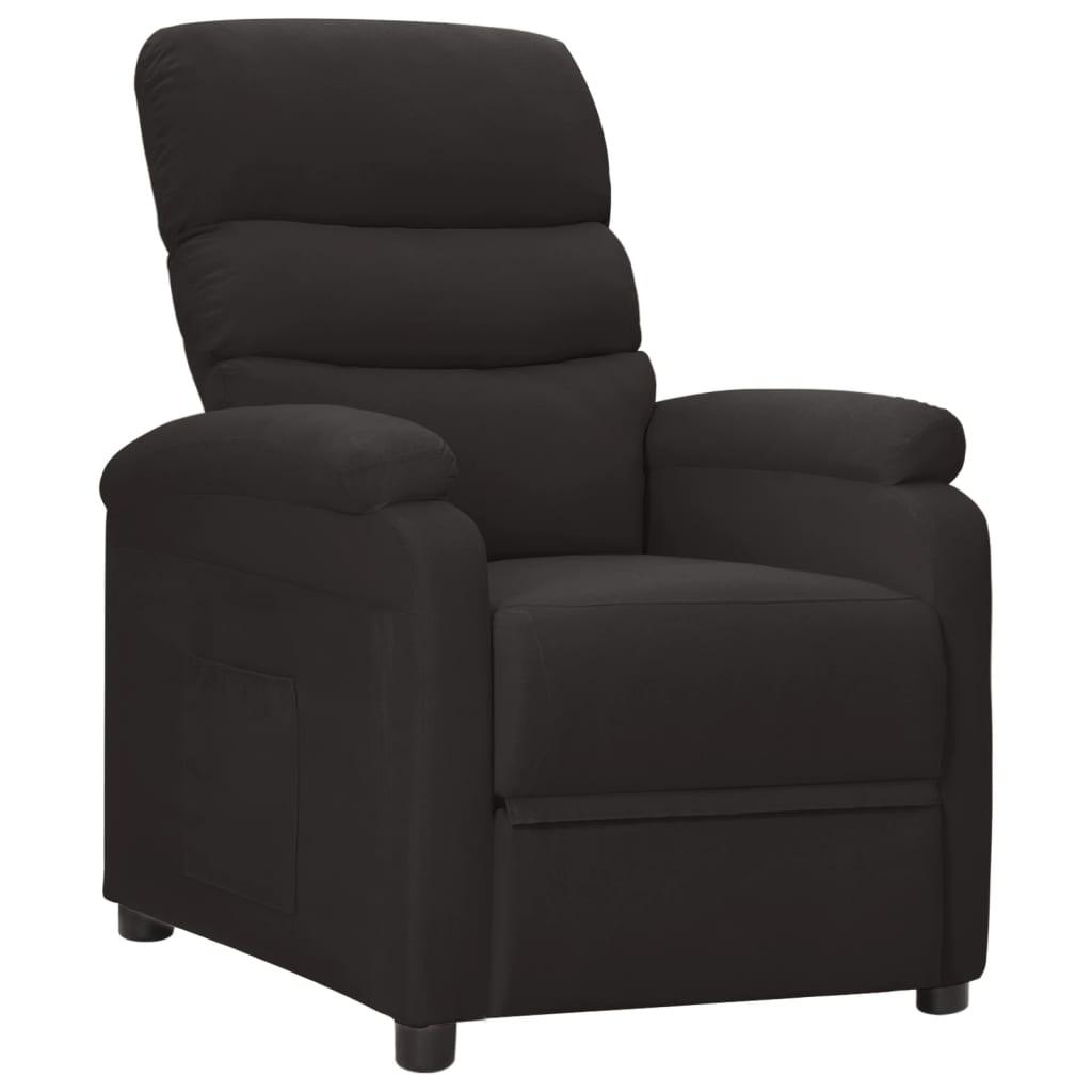 vidaXL Rozkładany fotel, czarny, tapicerowany tkaniną