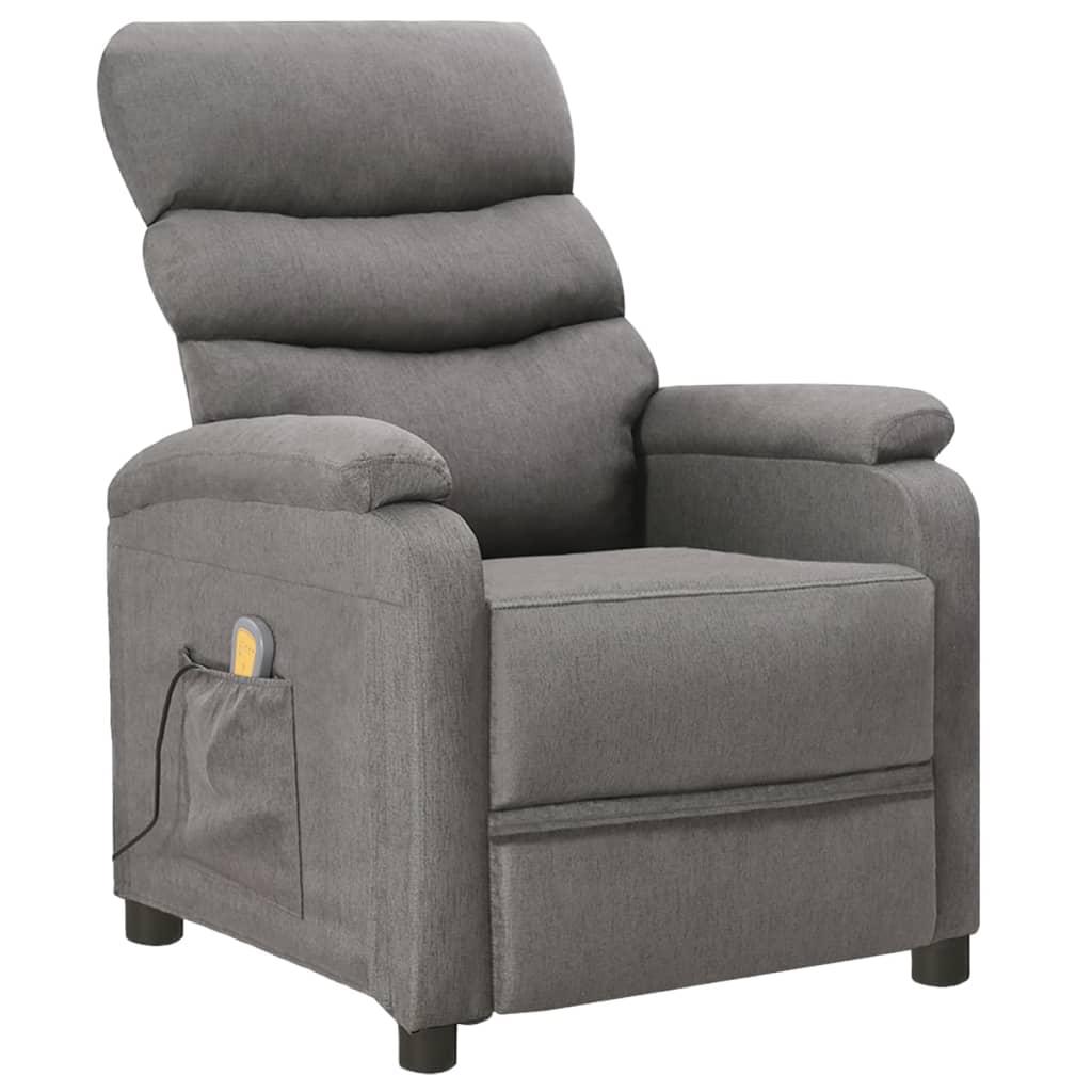 vidaXL Fotoliu de masaj rabatabil, gri deschis, material textil poza vidaxl.ro