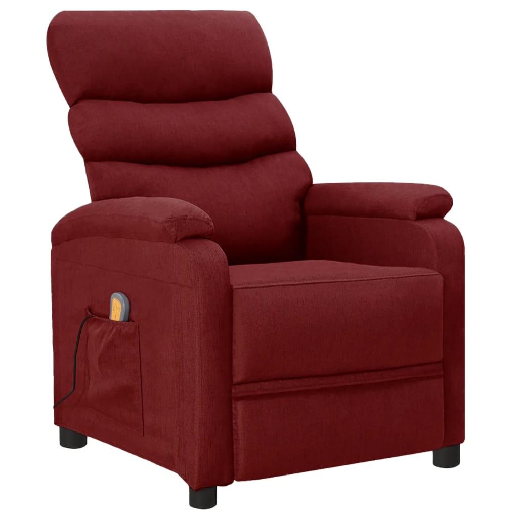 vidaXL Fotoliu de masaj rabatabil, roșu vin, material textil vidaxl.ro