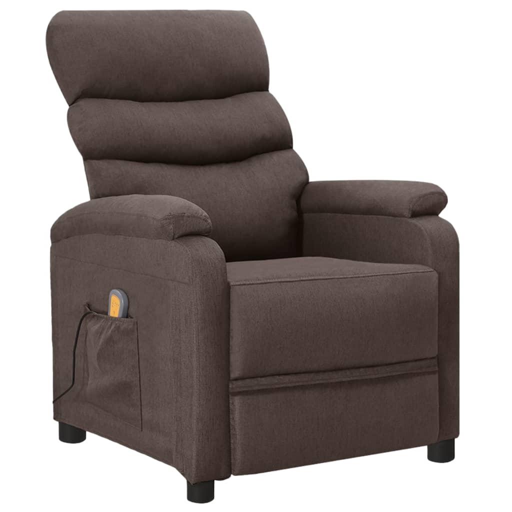 vidaXL Fotoliu de masaj rabatabil, gri taupe, material textil vidaxl.ro