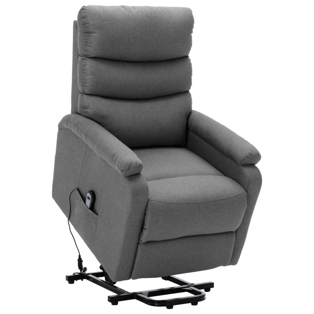 vidaXL Fotel rozkładany, podnoszony, jasnoszary, obity tkaniną