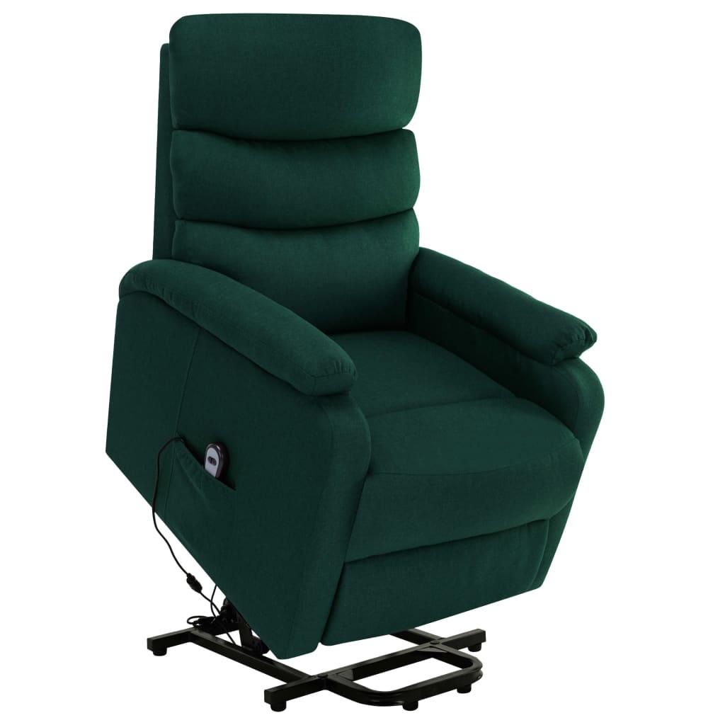 vidaXL Fotoliu de masaj rabatabil vertical, verde închis, textil imagine vidaxl.ro