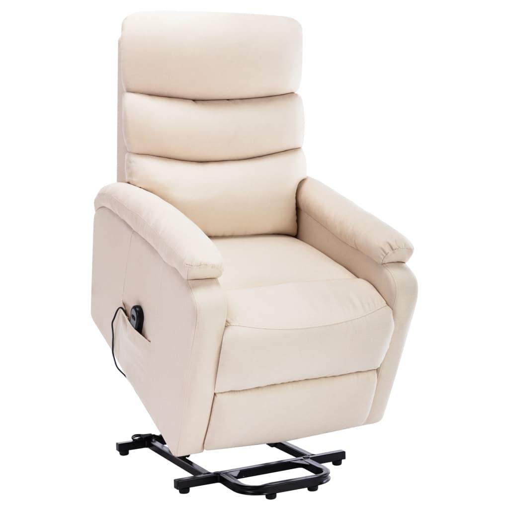 vidaXL Fotel rozkładany, masujący, podnoszony, kremowy, tkanina