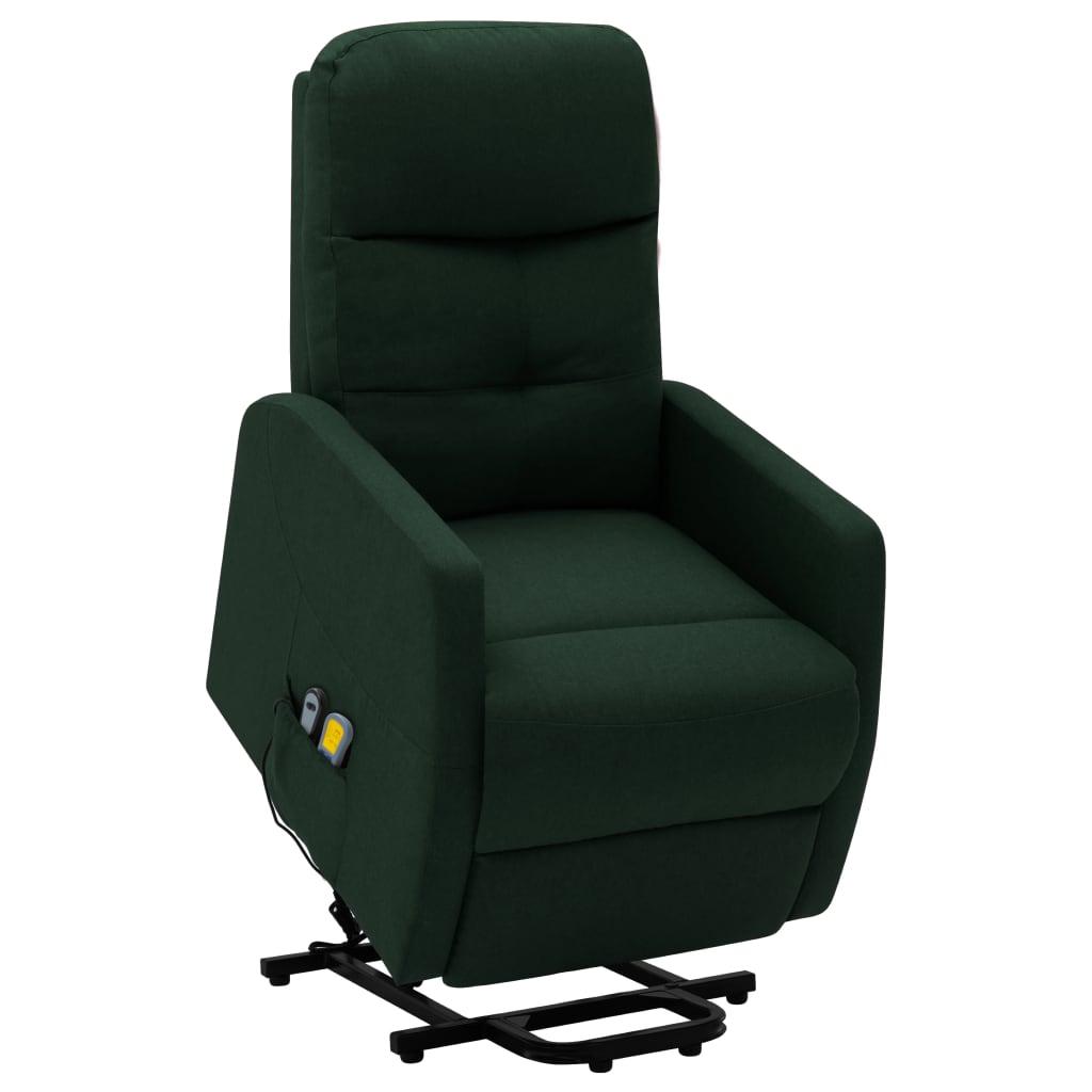 vidaXL Fotoliu de masaj rabatabil cu ridicare, verde închis, textil poza vidaxl.ro