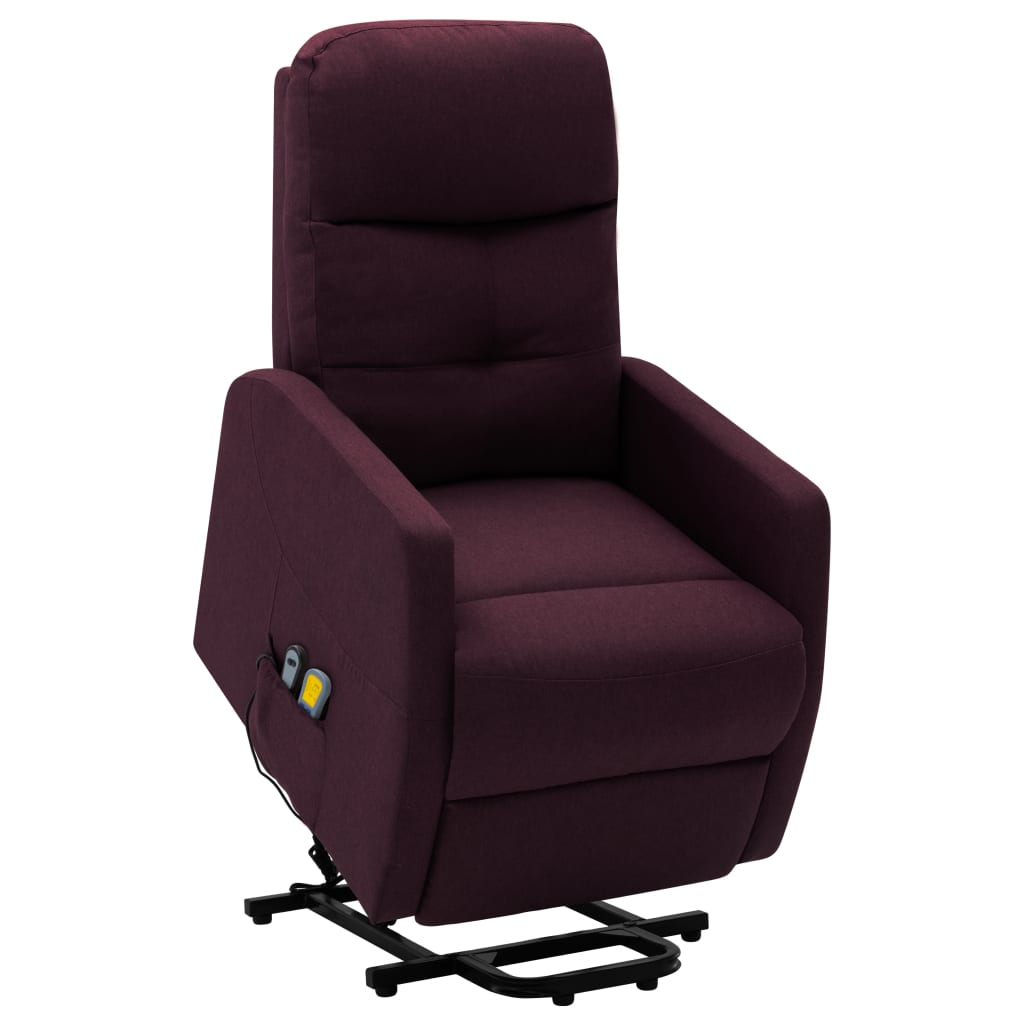 vidaXL Fotoliu de masaj rabatabil cu ridicare, violet, material textil poza vidaxl.ro
