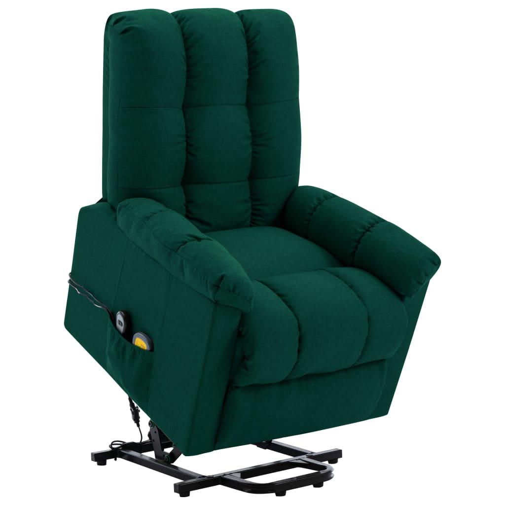 vidaXL Fotoliu de masaj cu ridicare verticală, verde închis, textil imagine vidaxl.ro