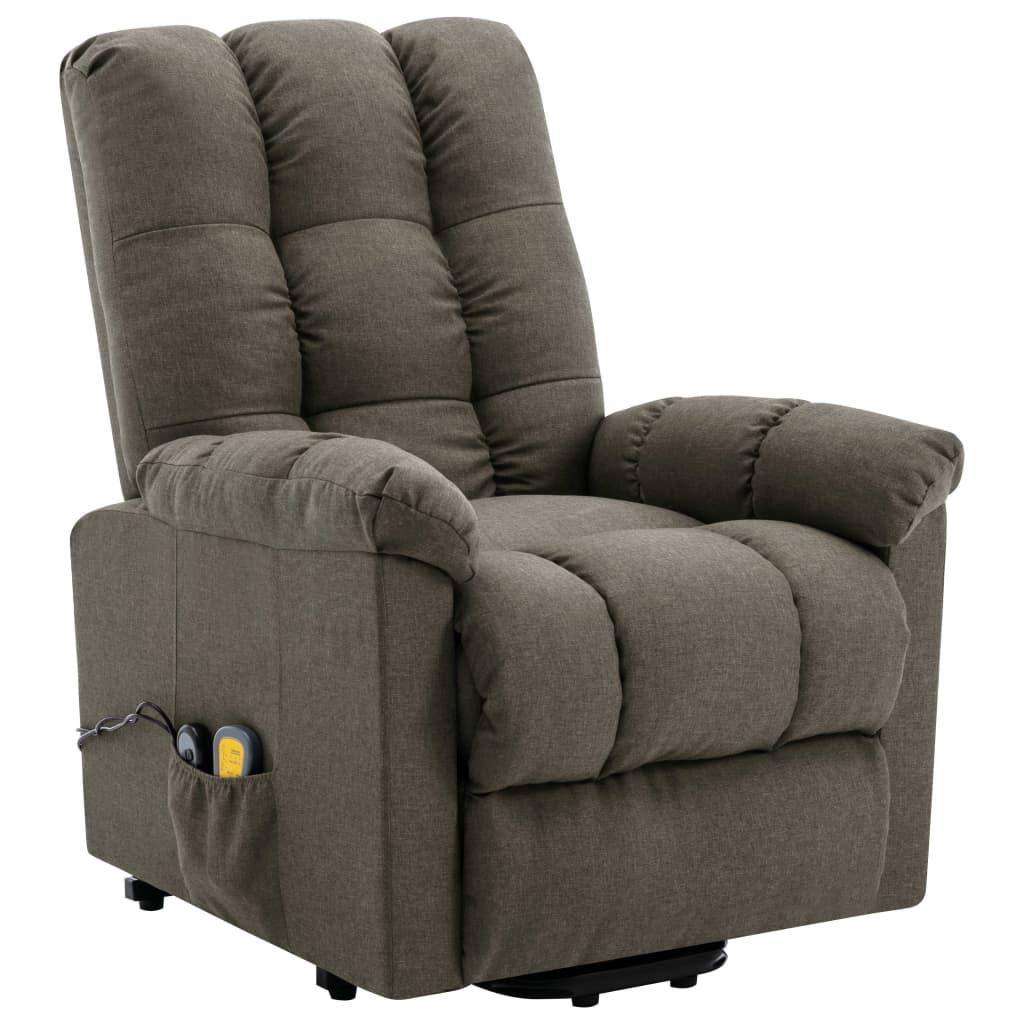 vidaXL Sta-op-massagestoel verstelbaar stof taupe