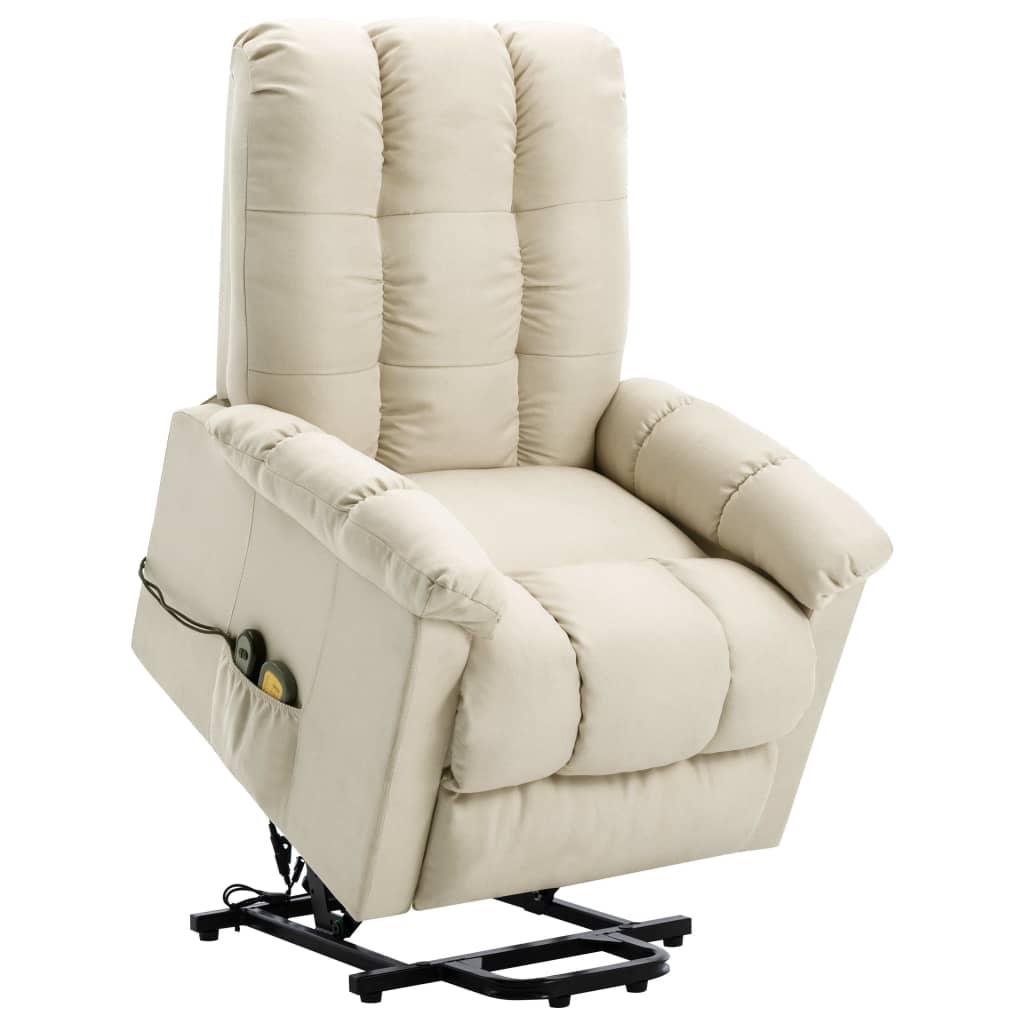 vidaXL Fotoliu de masaj rabatabil vertical, crem, material textil poza vidaxl.ro