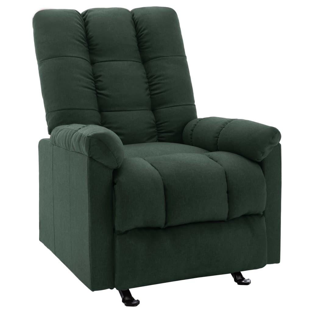 <ul><li>Farbe: Dunkelgrün</li><li>Material: Stoff (100% Polyester), Sperrholz, Metall</li><li>Gesamtabmessungen: 71,5 x 96,5 x 100,5 cm (B x T x H)</li><li>Sitzgröße: 43 x 56,5 cm (B x T)</li><li>Sitzhöhe vom Boden: 48 cm</li><li>Armlehnenhöhe vom Boden: 59 cm</li><li>Verstellbare Rückenlehne und Fußstütze</li><li>Montage erforderlich: Ja</li></ul>