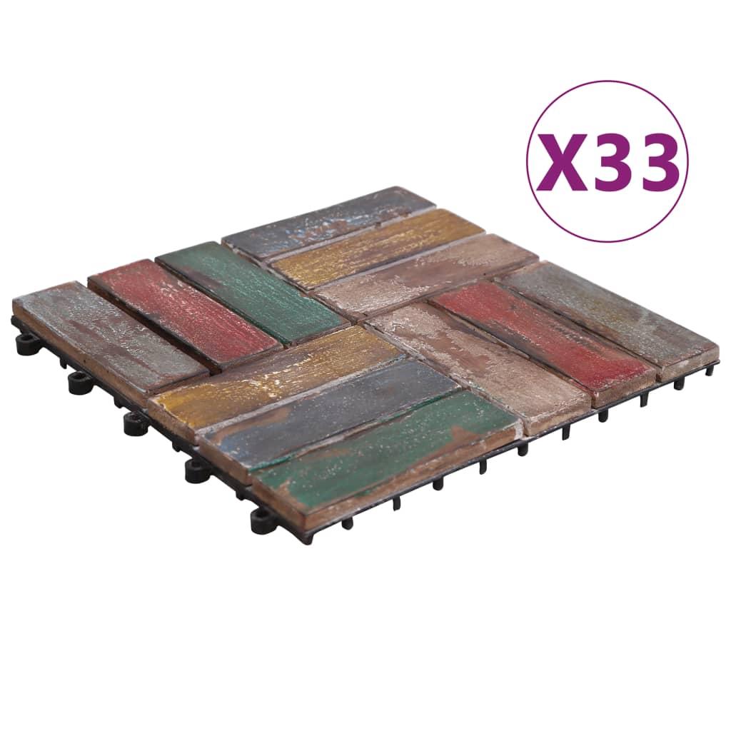 vidaXL Plăci de pardoseală, 33 buc., 30 x 30 cm, lemn masiv reciclat vidaxl.ro