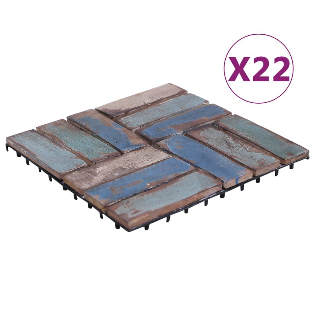 vidaXL Plăci de pardoseală, 22 buc., 30 x 30 cm, lemn masiv reciclat vidaxl.ro