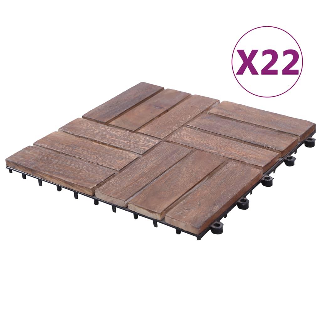 vidaXL Plăci de pardoseală, 22 buc., 30 x 30 cm, lemn masiv reciclat poza 2021 vidaXL