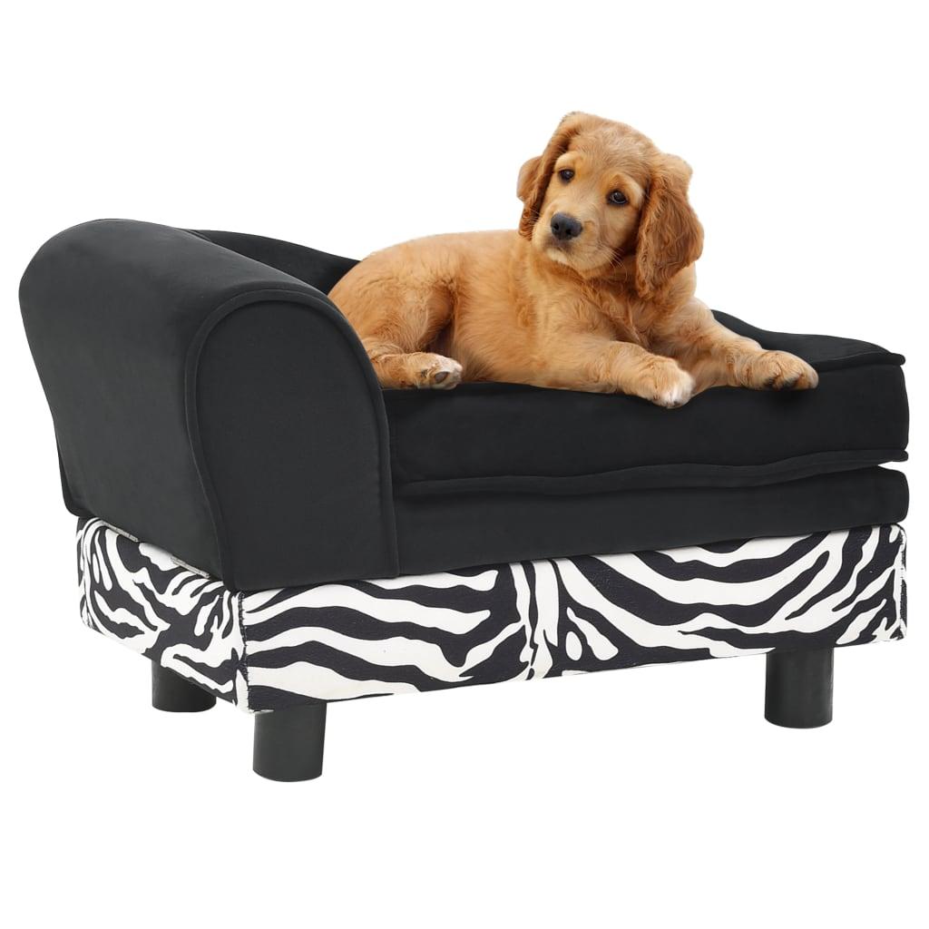 Hondenbank 57x34x36 cm pluche zwart