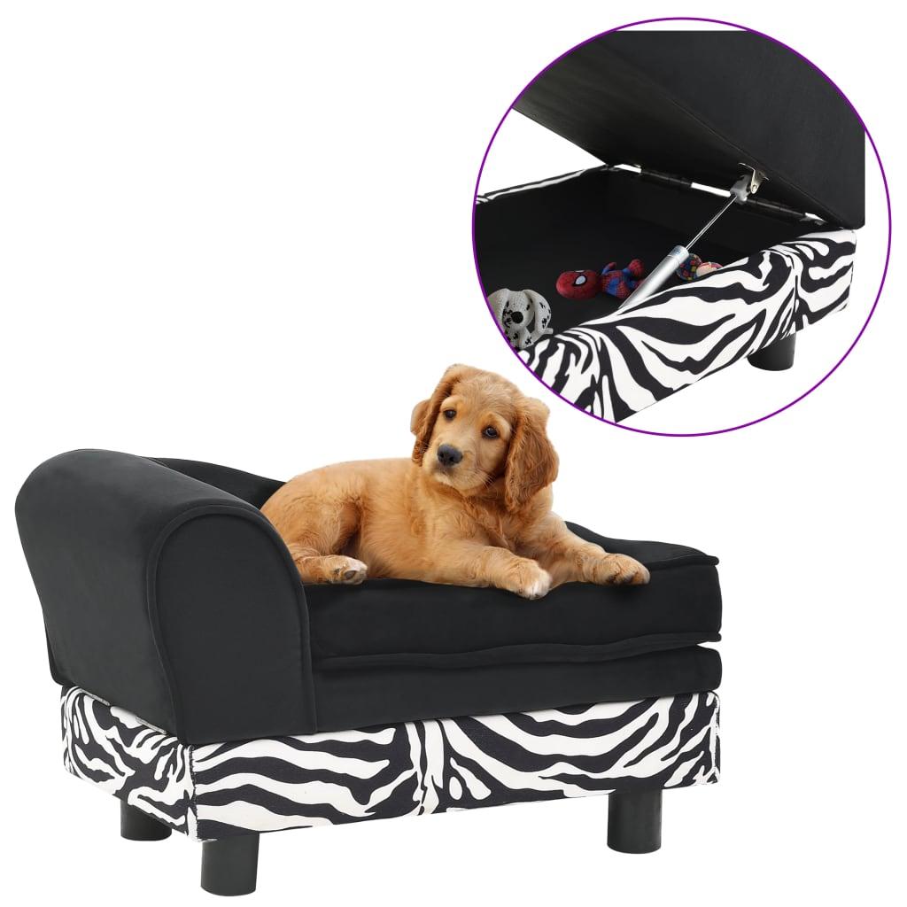 vidaXL Canapea pentru câini, negru, 57x34x36 cm, pluș poza vidaxl.ro