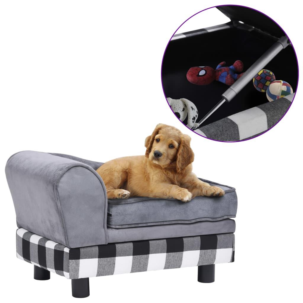 vidaXL Canapea pentru câini, gri, 57 x 34 x 36 cm, pluș poza 2021 vidaXL