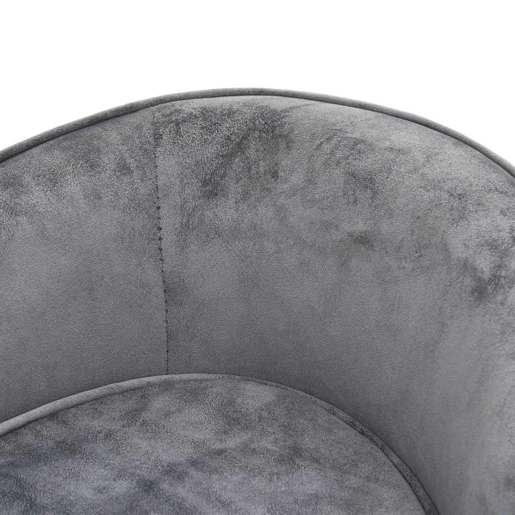 vidaXL Hondenbank 69x49x40 cm pluche grijs