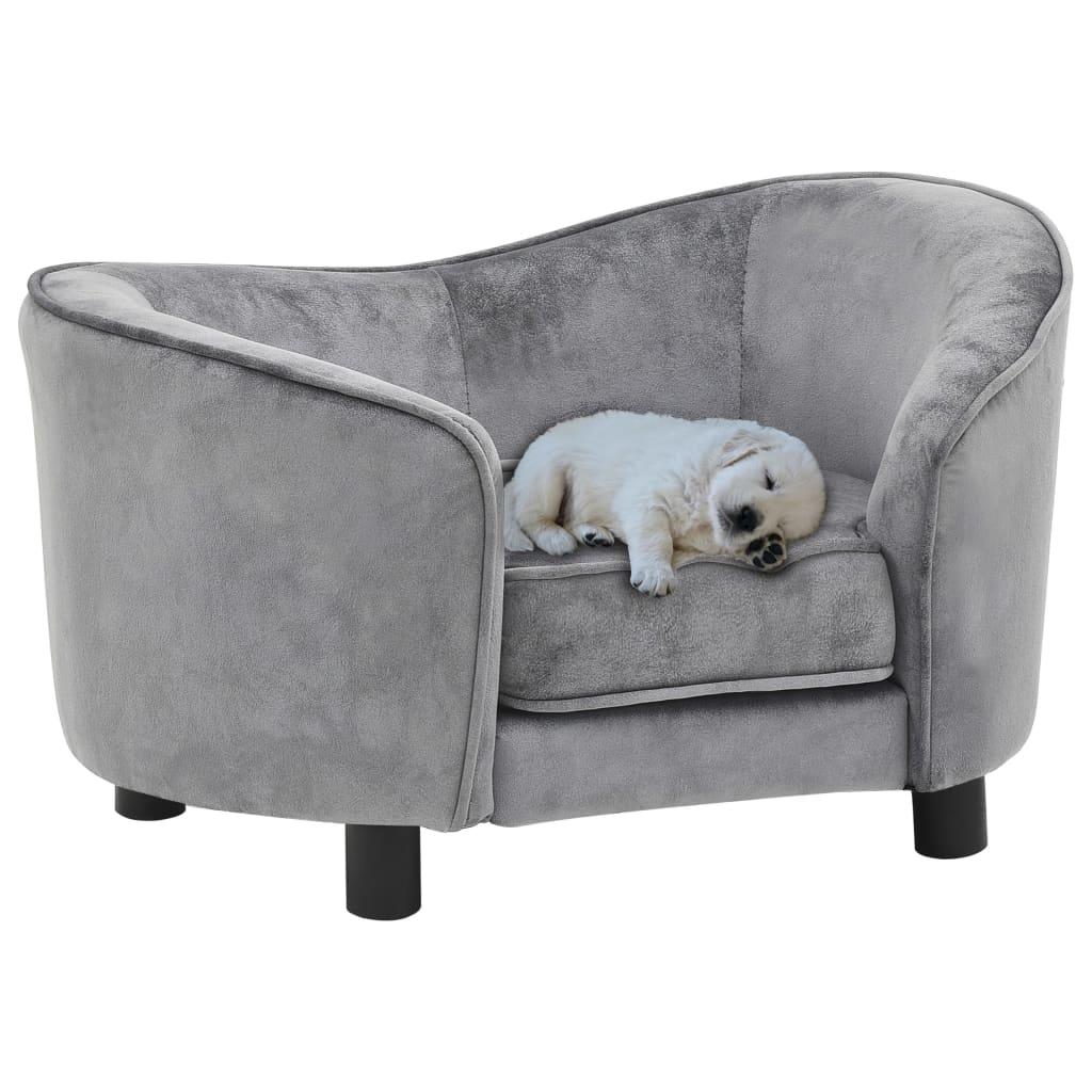 vidaXL Canapea pentru câini, gri, 69 x 49 x 40 cm, pluș poza 2021 vidaXL