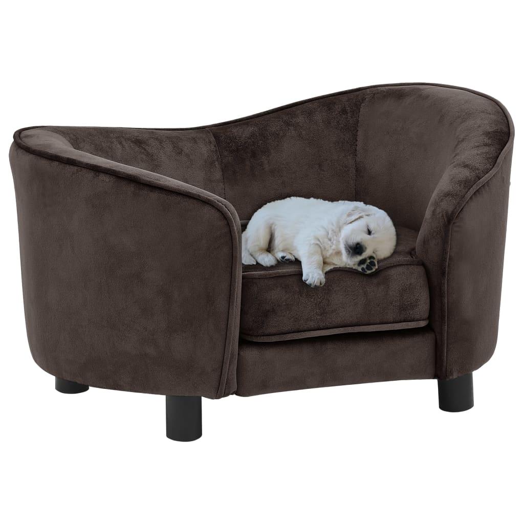 vidaXL Canapea pentru câini, maro, 69 x 49 x 40 cm, pluș vidaxl.ro
