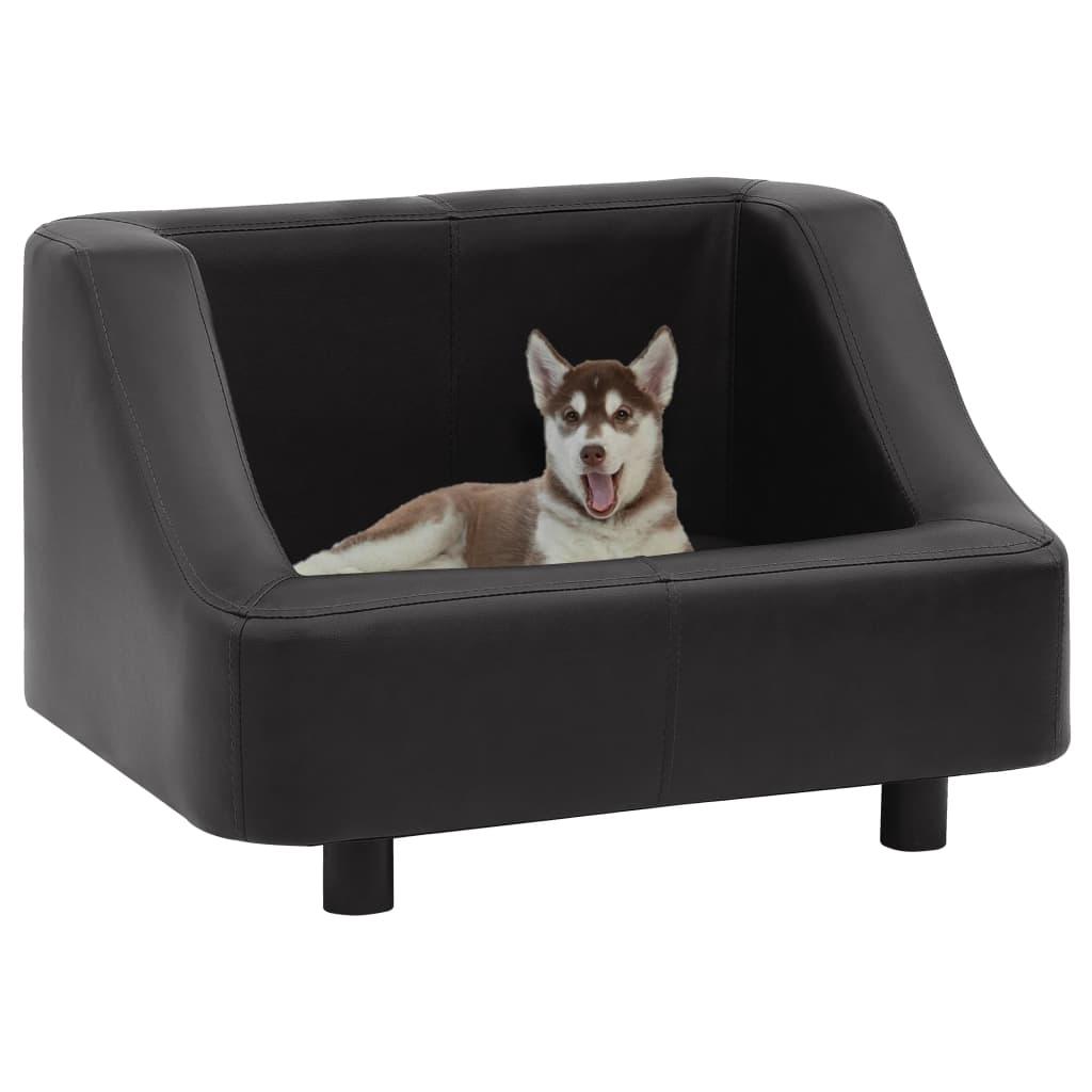 vidaXL Canapea pentru câini, negru, 67 x 52 x 40 cm, piele ecologică poza vidaxl.ro