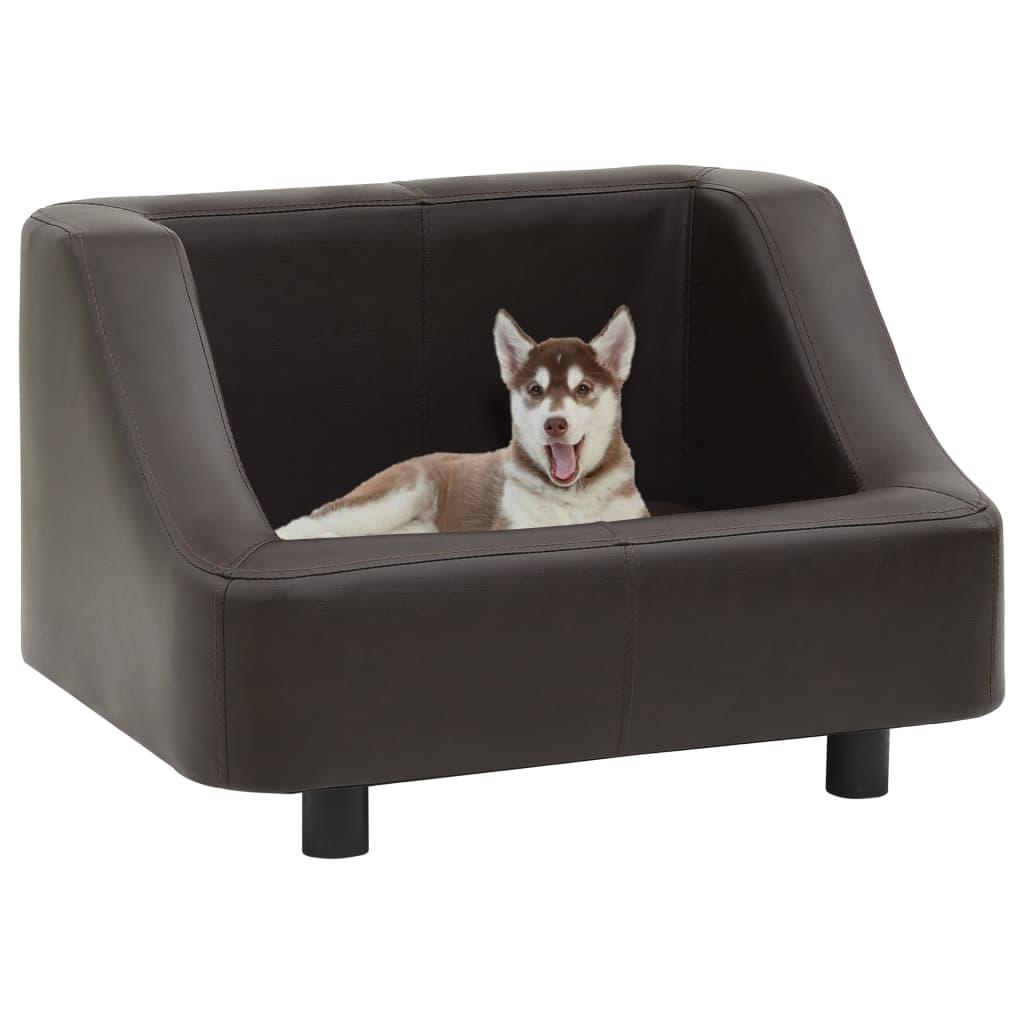 vidaXL Canapea pentru câini, maro, 67 x 52 x 40 cm, piele ecologică vidaxl.ro