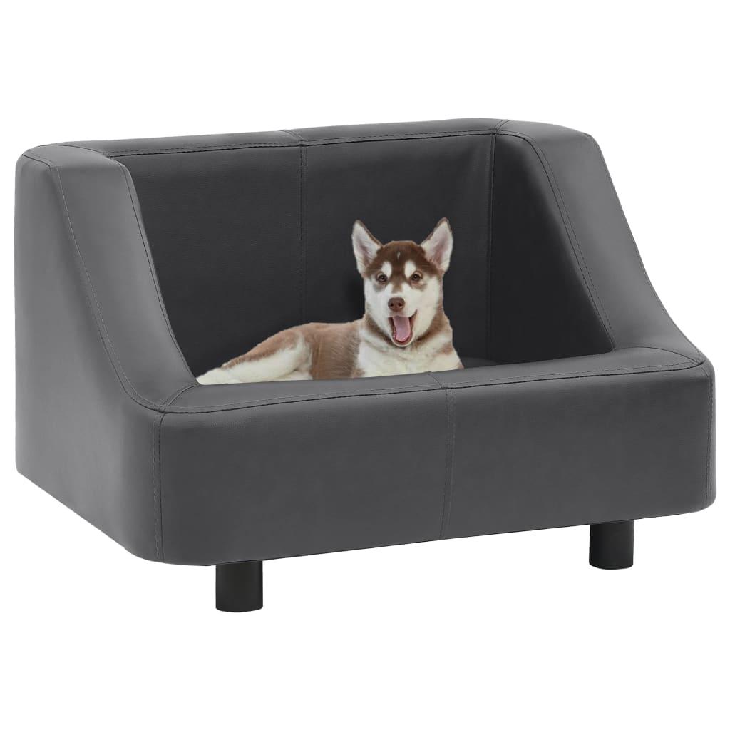 vidaXL Canapea pentru câini, gri, 67 x 52 x 40 cm, piele ecologică poza 2021 vidaXL