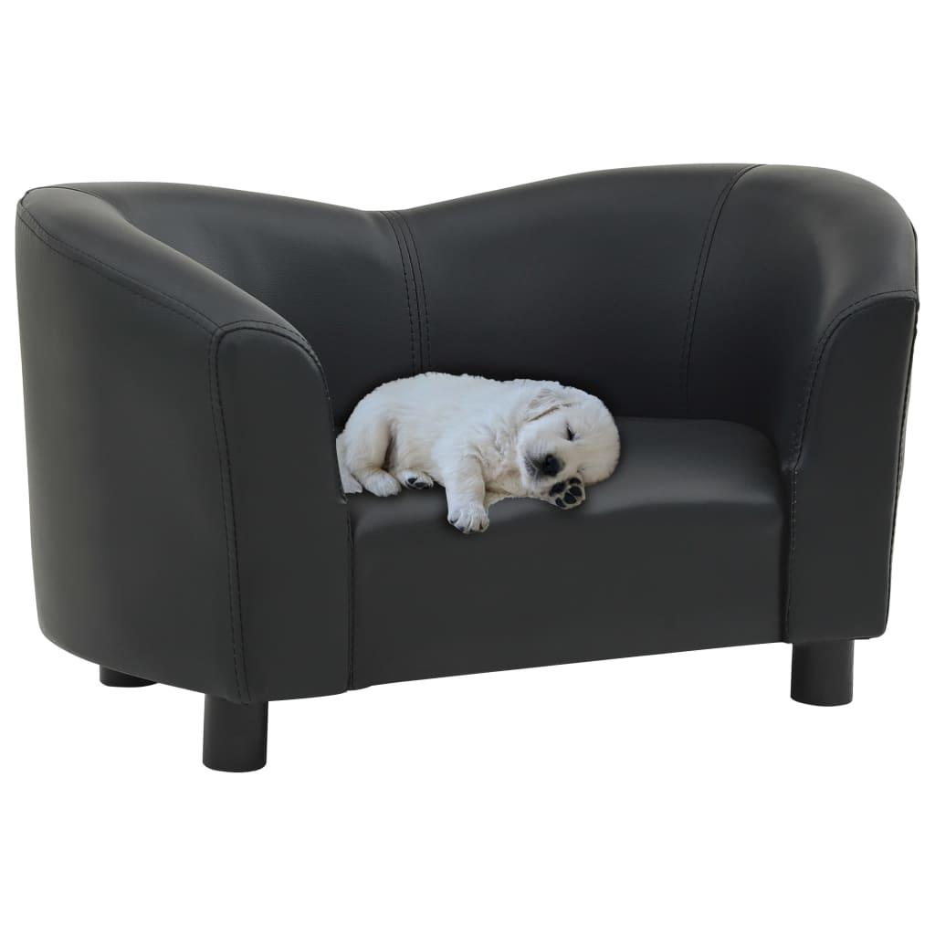 vidaXL Canapea pentru câini, negru, 67x41x39 cm, piele ecologică imagine vidaxl.ro