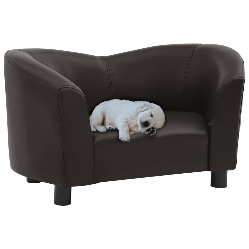vidaXL Canapea pentru câini, maro, 67x41x39 cm, piele ecologică imagine vidaxl.ro