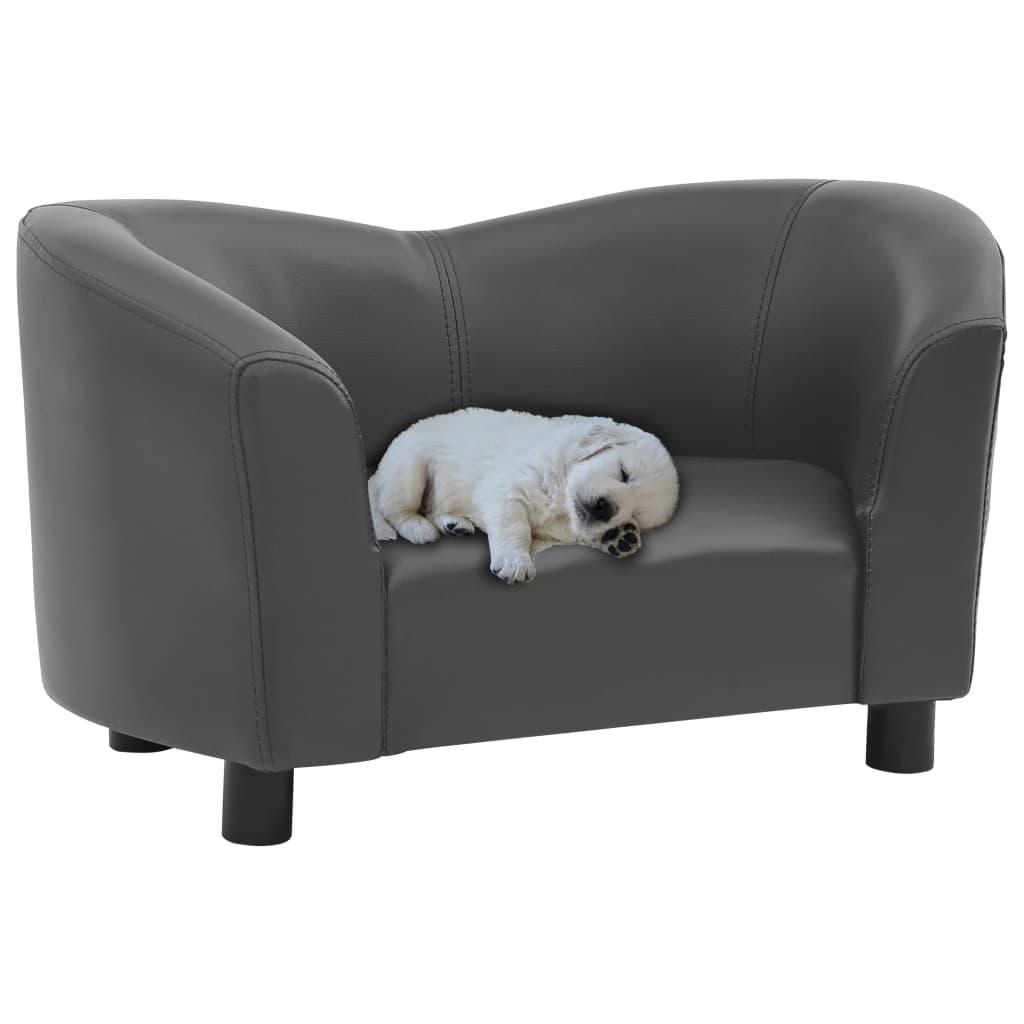 vidaXL Canapea pentru câini, gri, 67 x 41 x 39 cm, piele ecologică vidaxl.ro