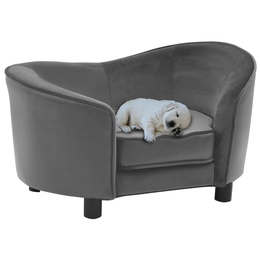 vidaXL Canapea pentru câini, gri, 69x49x40 cm, pluș și piele ecologică poza 2021 vidaXL
