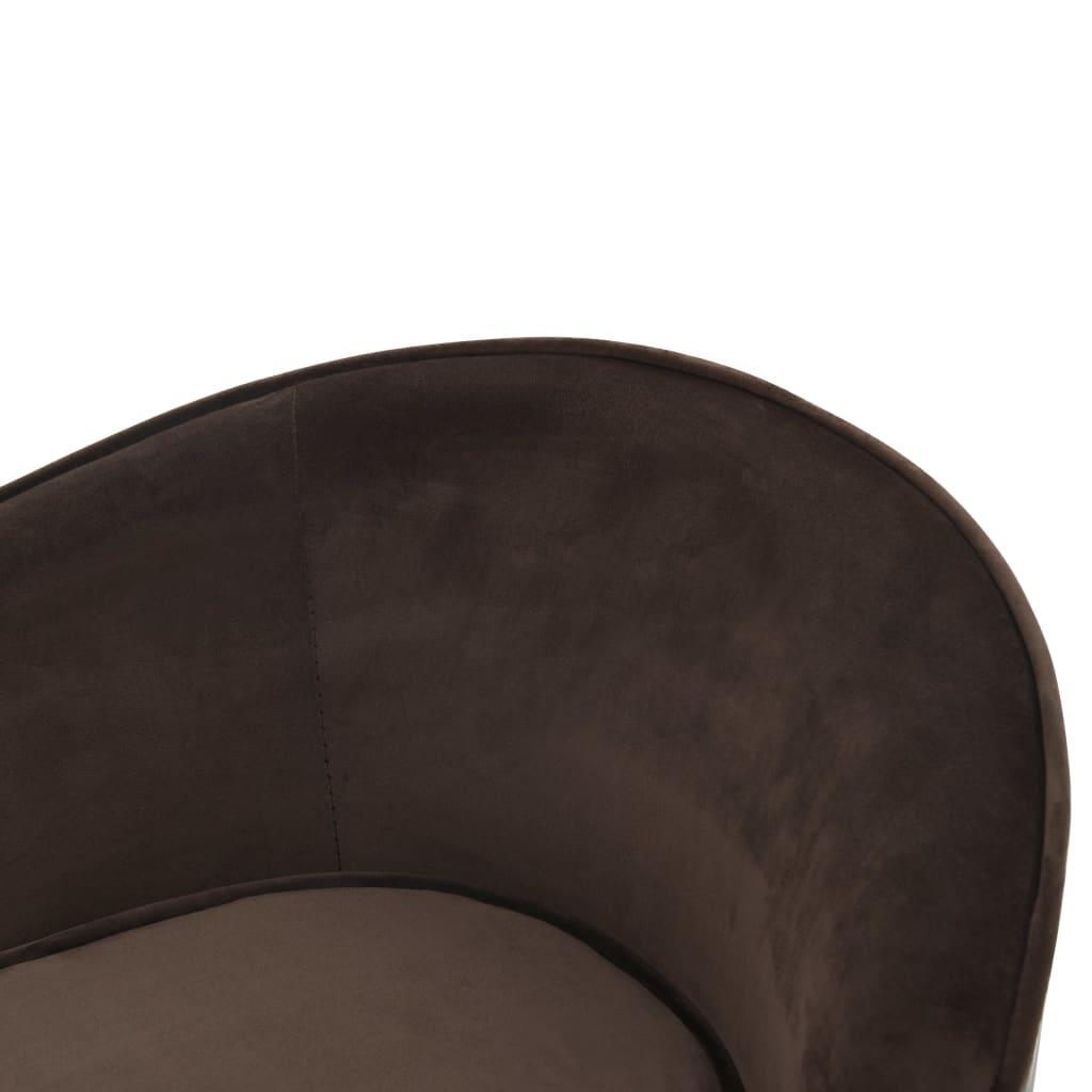 Hondenbank 69x49x40 cm pluche en kunstleer bruin