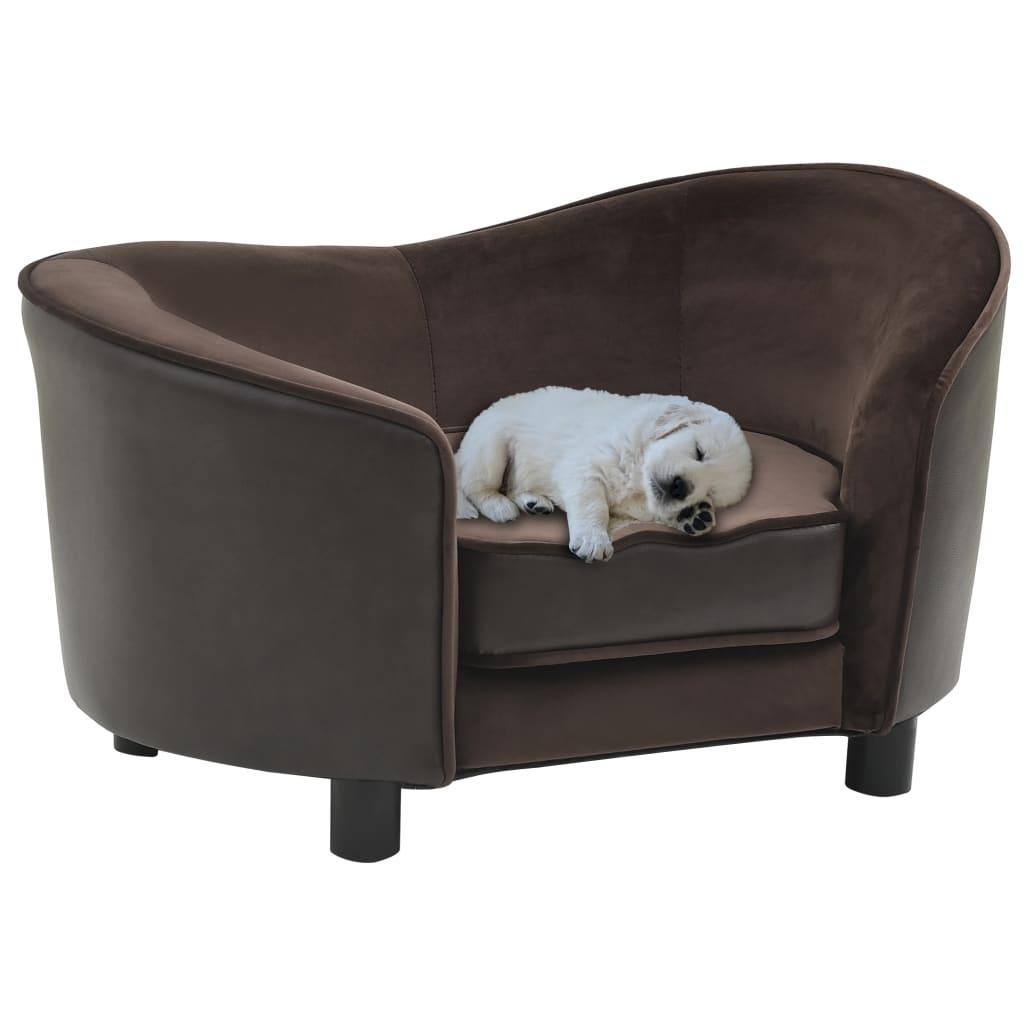 vidaXL Canapea pentru câini, maro, 69x49x40 cm, pluș & piele ecologică imagine vidaxl.ro