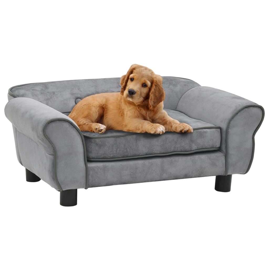 vidaXL Canapea pentru câini, gri, 72 x 45 x 30 cm, pluș vidaxl.ro