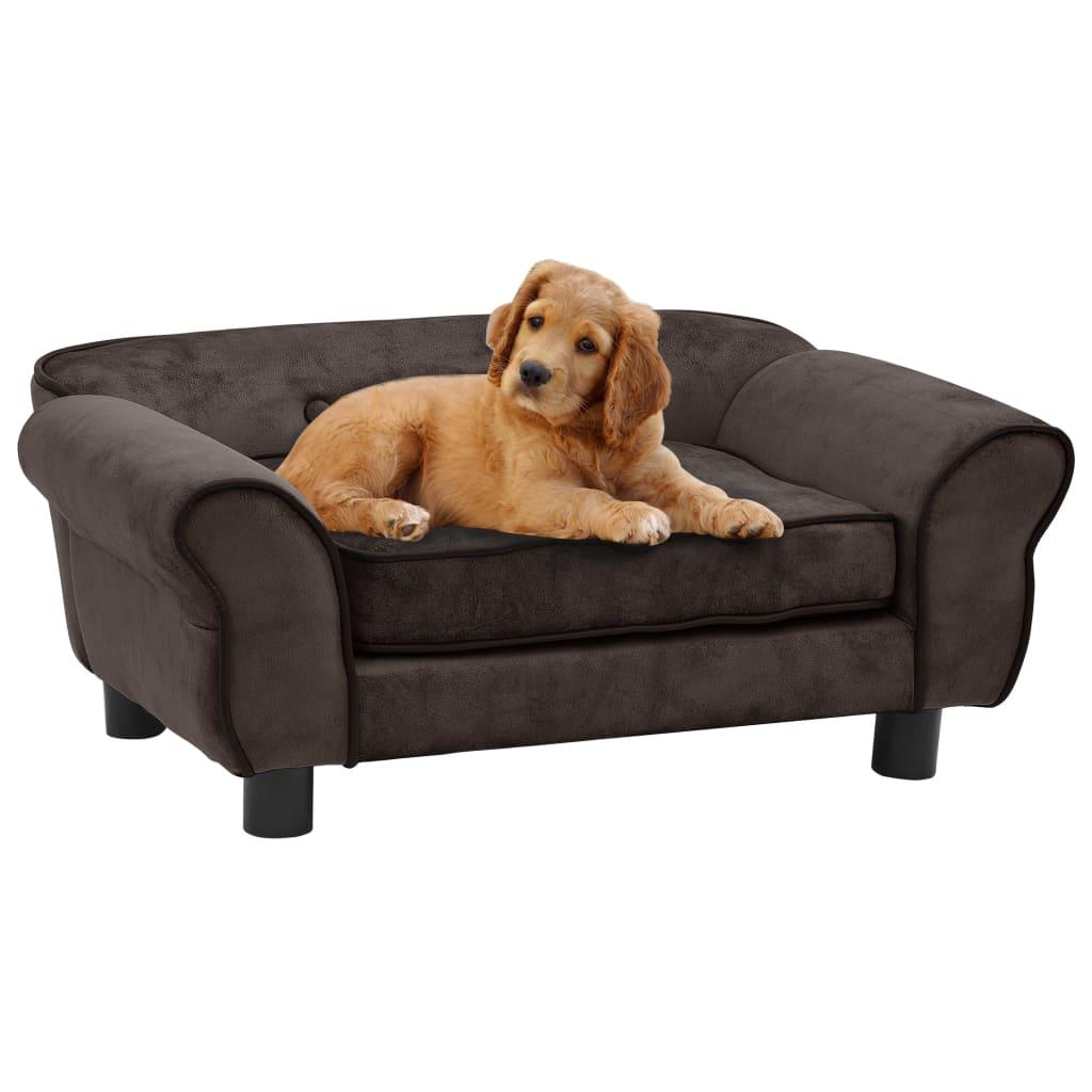 vidaXL Canapea pentru câini, maro, 72 x 45 x 30 cm, pluș vidaxl.ro