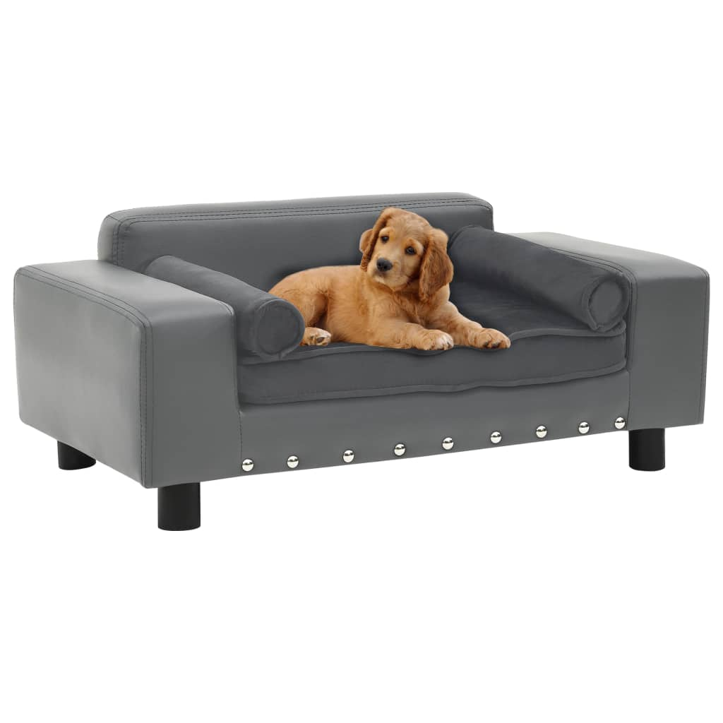vidaXL Canapea pentru câini, gri, 81x43x31 cm, pluș & piele ecologică imagine vidaxl.ro