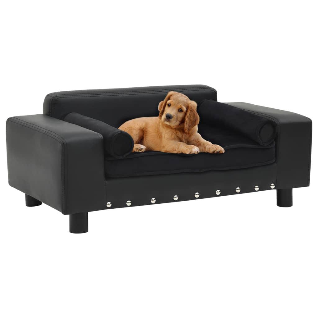 vidaXL Canapea pentru câini, negru, 81x43x31cm, pluș & piele ecologică vidaxl.ro