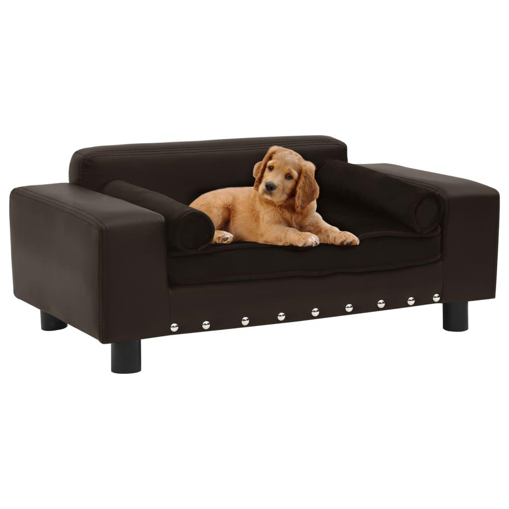 vidaXL Canapea pentru câini, maro, 81x43x31cm, pluș & piele ecologică vidaxl.ro