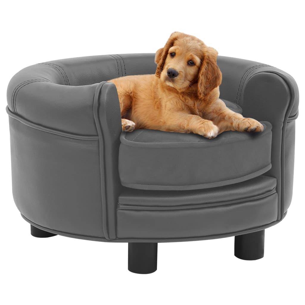 vidaXL Canapea pentru câini, gri, 48x48x32 cm, pluș & piele ecologică poza vidaxl.ro