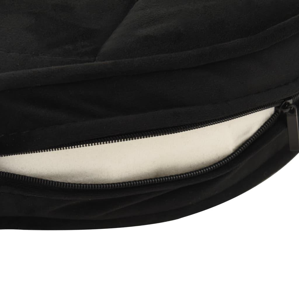 Hondenbank 48x48x32 cm pluche en kunstleer zwart