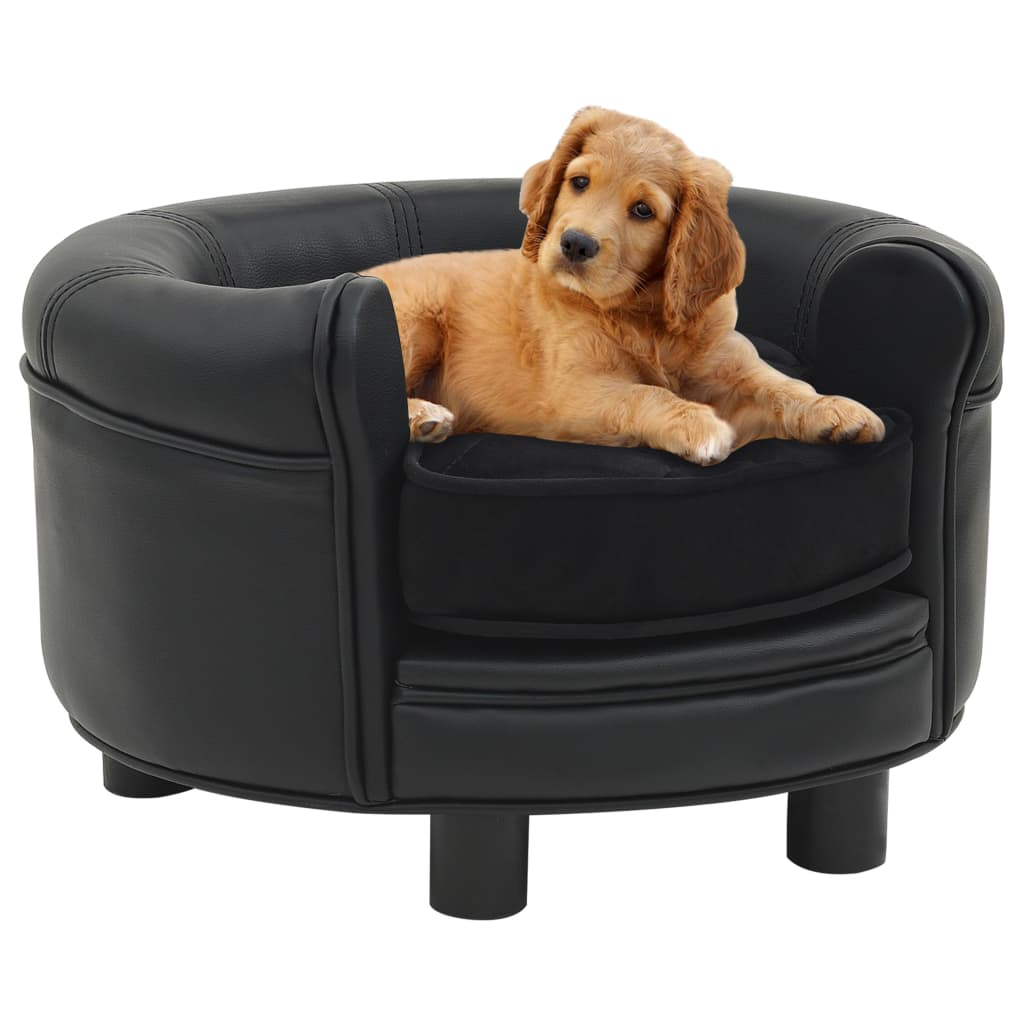 vidaXL Canapea pentru câini, negru, 48x48x32 cm, pluș&piele ecologică imagine vidaxl.ro