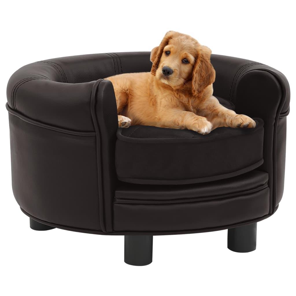 vidaXL Canapea pentru câini, maro, 48x48x32 cm, pluș & piele ecologică poza vidaxl.ro
