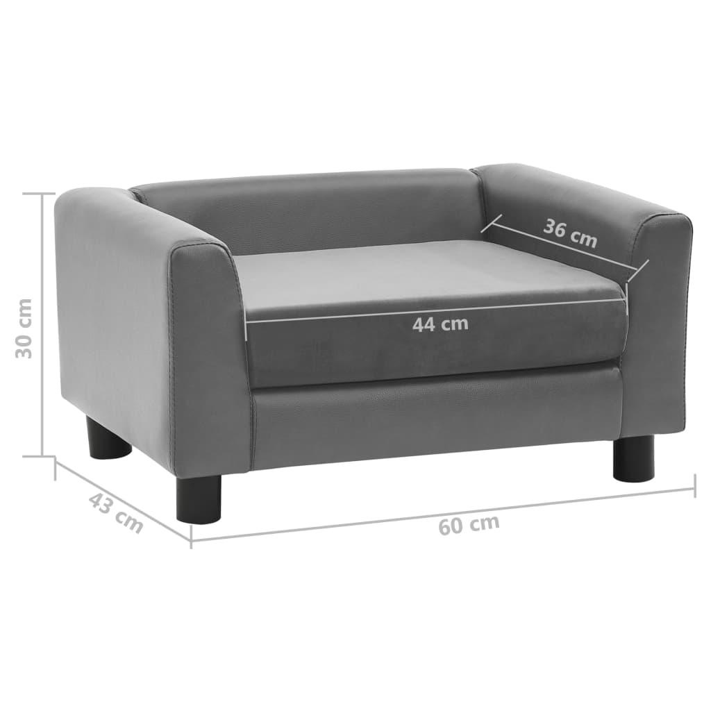 Hondenbank 60x43x30 cm pluche en kunstleer grijs