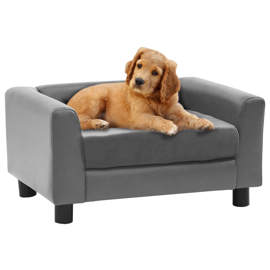 vidaXL Canapea pentru câini, gri, 60x43x30 cm, pluș & piele ecologică imagine vidaxl.ro