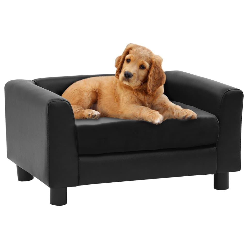 vidaXL Canapea pentru câini, negru, 60x43x30 cm pluș & piele ecologică vidaxl.ro