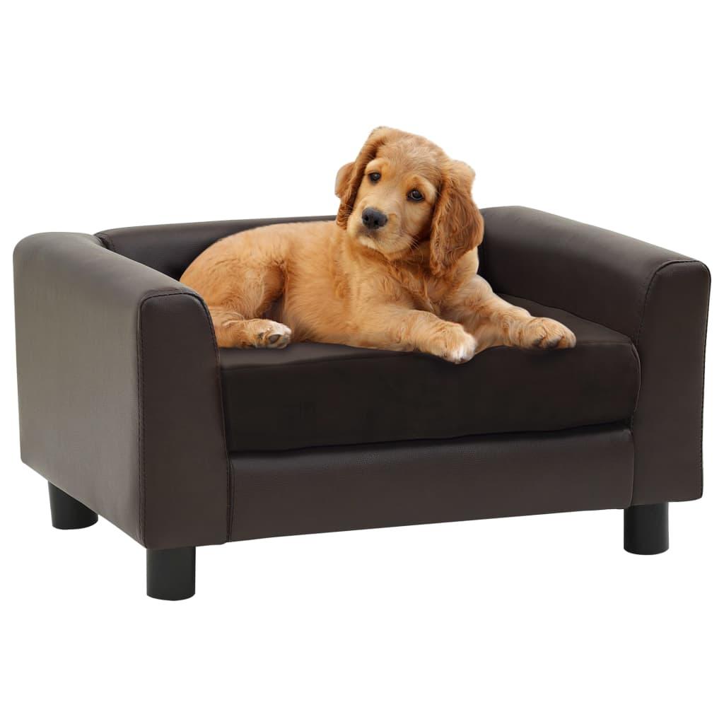 vidaXL Canapea pentru câini, maro, 60x43x30 cm, pluș & piele ecologică poza 2021 vidaXL