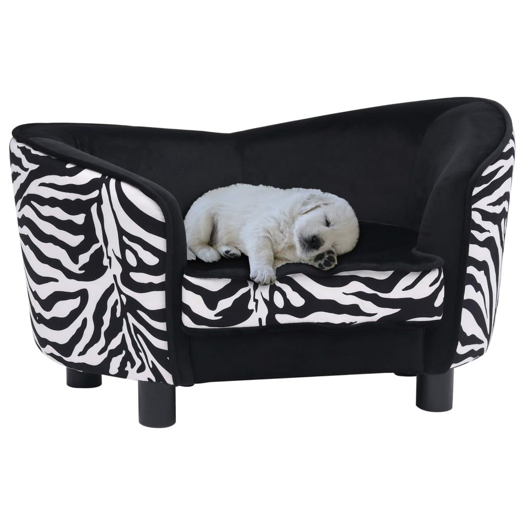 vidaXL Canapea pentru câini, negru, 68 x 38 x 38 cm, pluș poza vidaxl.ro
