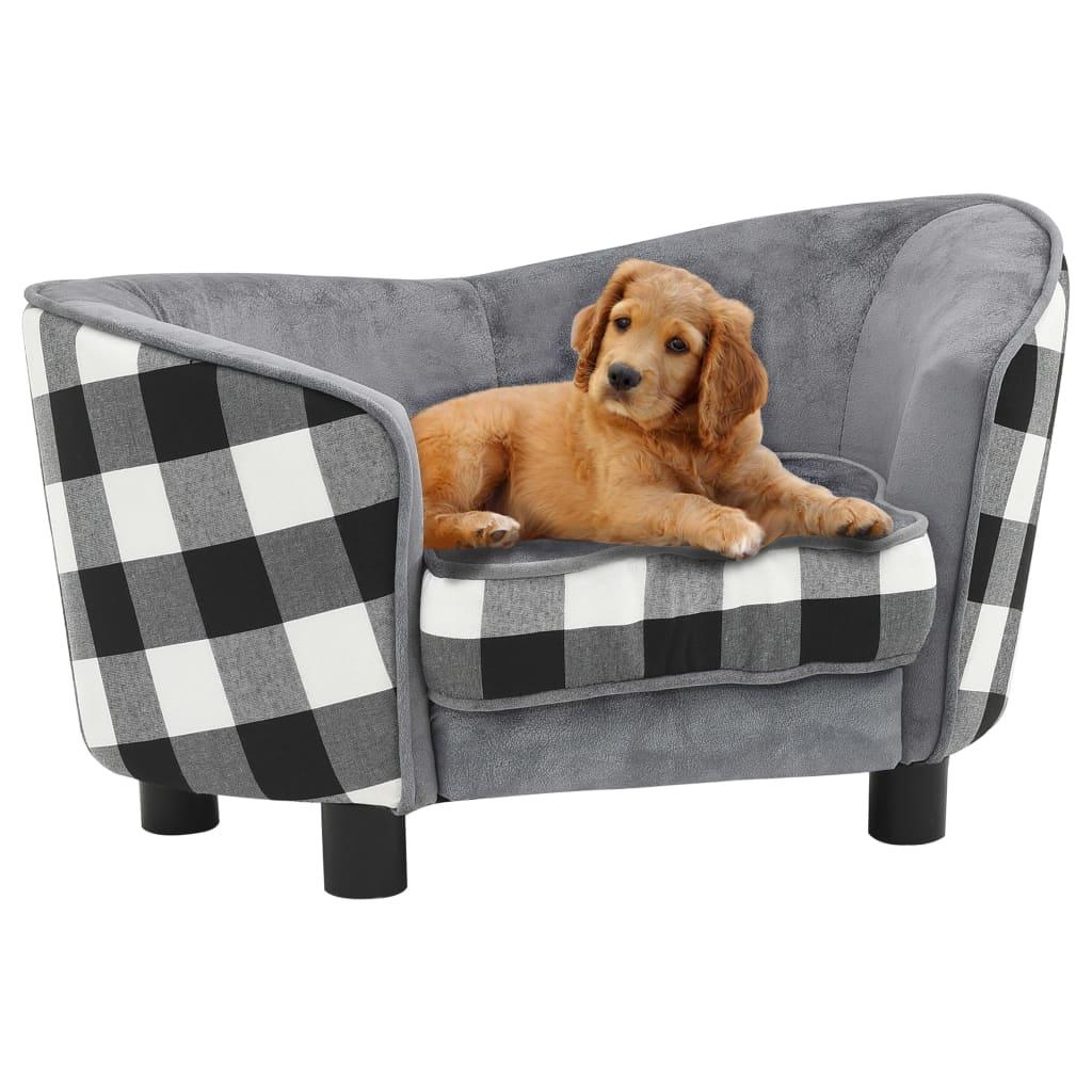 vidaXL Canapea pentru câini, gri, 68 x 38 x 38 cm, pluș vidaxl.ro