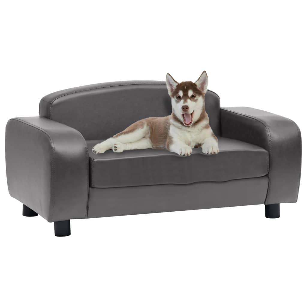 vidaXL Canapea pentru câini, gri, 80 x 50 x 40 cm, piele ecologică poza 2021 vidaXL