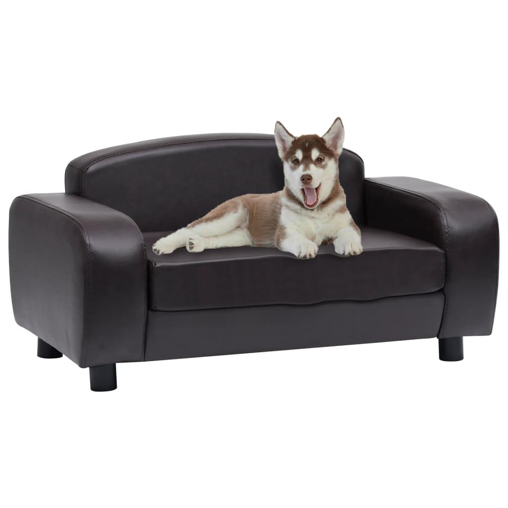 vidaXL Canapea pentru câini, maro, 80 x 50 x 40 cm, piele ecologică poza 2021 vidaXL